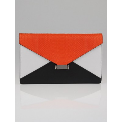 Celine Bright Orange Python Tricolor Small Diamond Clutch Bag
