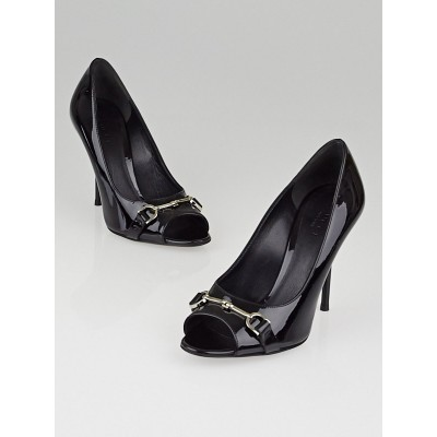 Gucci Black Patent Leather Horsebit Peep Toe Pumps Size 4.5/35