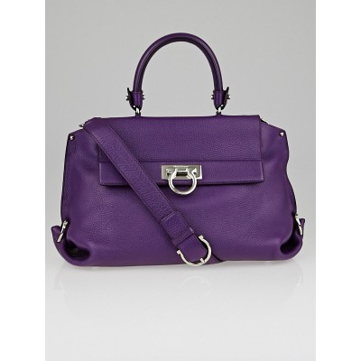 Salvatore Ferragamo Mirtillo Calfskin Leather Medium Sofia Bag