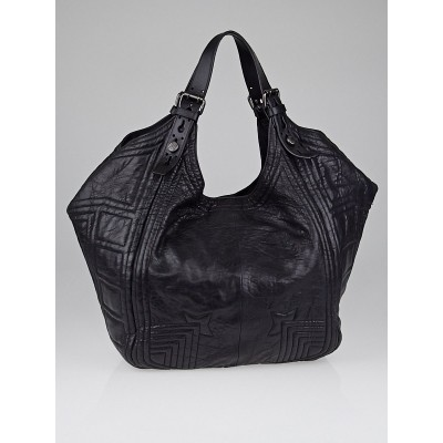 Givenchy Black Leather Padded Stitch Sacca Hobo Bag