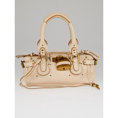 Chloe Pale Pink Pebbled Leather Small Paddington Bag