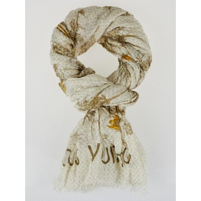 Louis Vuitton Brown/White Cotton/Linen Toile de Louis Pareo Scarf