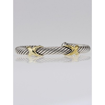 David Yurman 7mm Sterling Silver and 14k Gold Cable X Cuff Bracelet