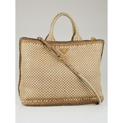 Prada Talco/Pomice Woven Leather Madras Large Tote Bag BN2469