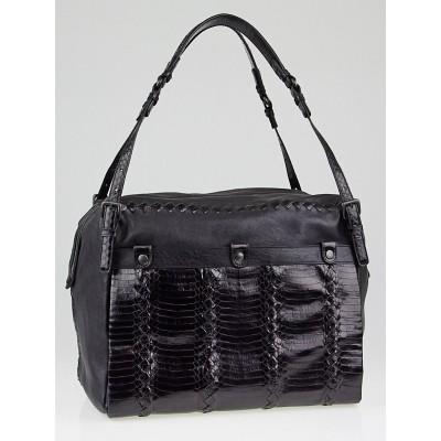 Bottega Veneta Black Resina Lambskin Cobra Bag