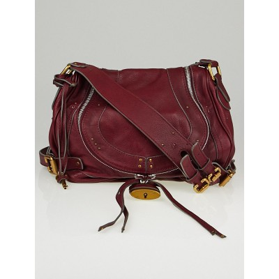 Chloe Burgundy Leather Paddington Saddle Bag