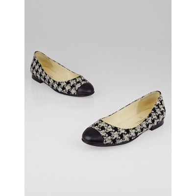 Chanel Black Houndstooth Tweed Cap Toe Ballet Flats Size 6.5/37