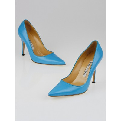 Manolo Blahnik Turquoise Leather Blixa 105 Pointed Toe Pumps Size 7/37.5