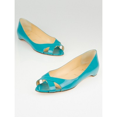 Christian Louboutin Turquoise Patent Leather Croisette Open Toe Flats Size 9.5/40