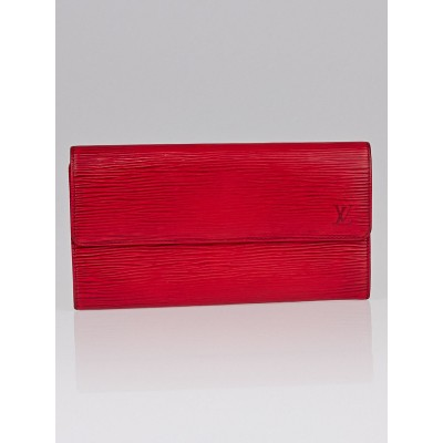 Louis Vuitton Red Epi Leather Long Flap Wallet