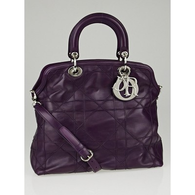 Christian Dior Purple Cannage Quilted Lambskin Leather Granville Tote Bag