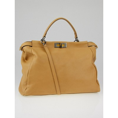 Fendi Beige Leather Large Peekaboo Bag