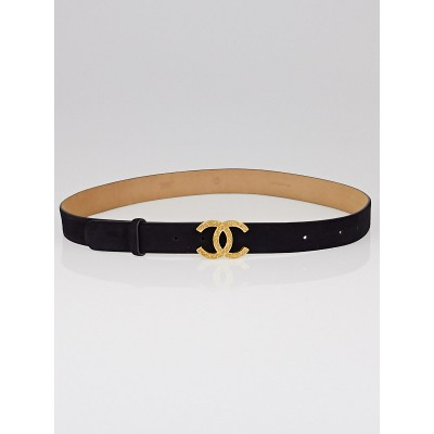 Chanel Black Suede CC Logo Belt