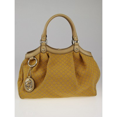 Gucci Yellow/Beige Diamante Canvas Medium Sukey Tote Bag