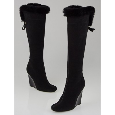 Louis Vuitton Black Suede with Fur Wedge Boots Size 5.5/36