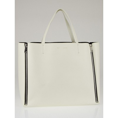 Celine White Lambskin Leather Horizontal Gusset Zip Cabas Bag
