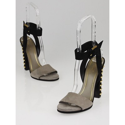 Gucci Grey/Black Suede Studded Madison Open-Toe Heels Size 9/39.5