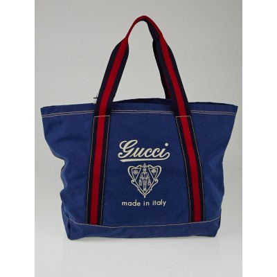 Gucci Blue Canvas Logo Large Tote Bag