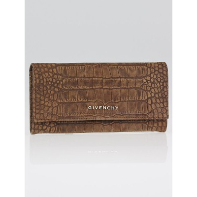 Givenchy Brown Crocodile Stamped Suede Pandora Continental Wallet
