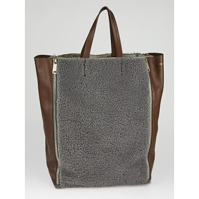 Celine Grey Shearling and Tan Leather Vertical Gusset Cabas Tote Bag