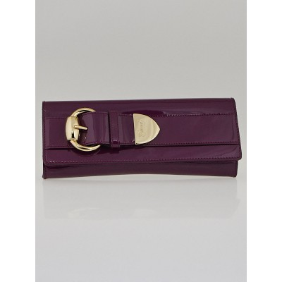 Gucci Purple Patent Leather Small Buckle Clutch Bag