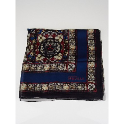 Alexander McQueen Multicolor Stained Glass Silk Scarf