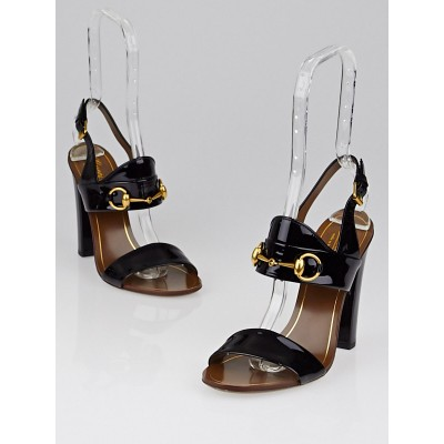 Gucci Black Patent Leather Horsebit Open-Toe Stacked Heels Size 7/37.5