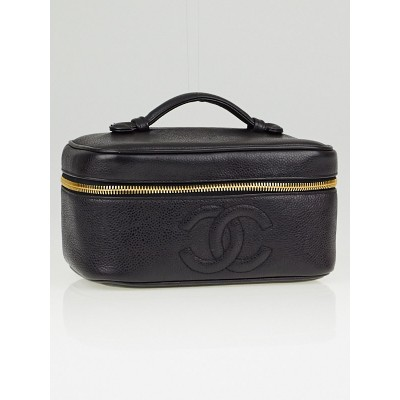 Chanel Black Caviar Leather CC Small Cosmetic Bag