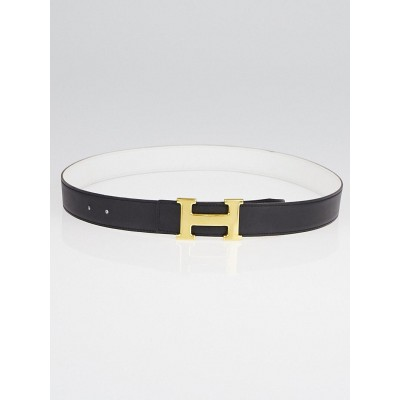 Hermes 30mm Black Chamonix /White Epsom Leather Gold Plated Constance H Belt Size 90
