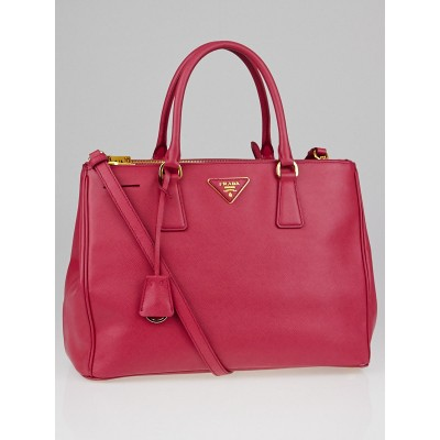 Prada Peonia Saffiano Lux Leather Double Zip Medium Tote Bag BN2274