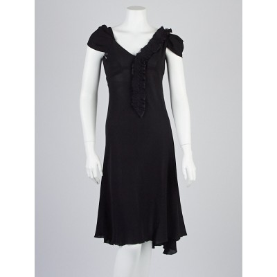 Prada Black Silk Cap-Sleeve Dress Size 6/40