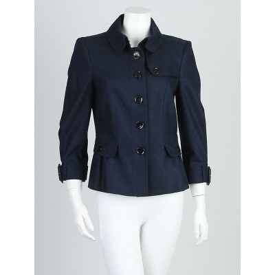Burberry London Navy Blue Wool Blend Peplum Jacket Size 6