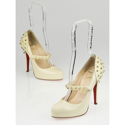 Christian Louboutin Off-White Patent Leather Mad Mary Pumps Size 5.5/36