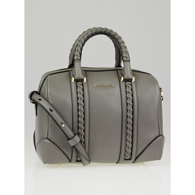 Givenchy Grey Calfskin Leather Braided Mini Lucrezia Duffle Bag