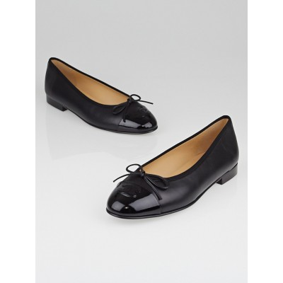 Chanel Black Leather CC Cap Toe Ballet Flats Size 8.5/39