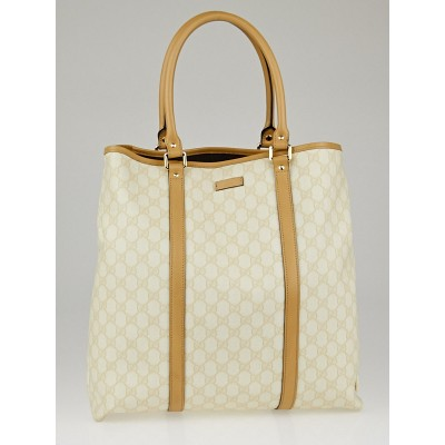 Gucci Beige/White GG Coated Canvas Large Tote Bag