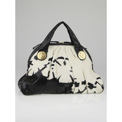 Gucci Black/White Leather Embroidered Hysteria Top Handle Bag