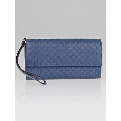 Gucci Blue Microguccissima Leather Wallet Wristlet Clutch Bag