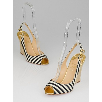 Christian Louboutin Black/Gold America Fabric Striped Puglia Sling 100 Espadrille Wedges Size 8.5/39