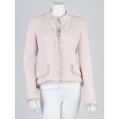 Chanel Light Pink Boucle Tweed Ice Cream Jacket Size 10/42
