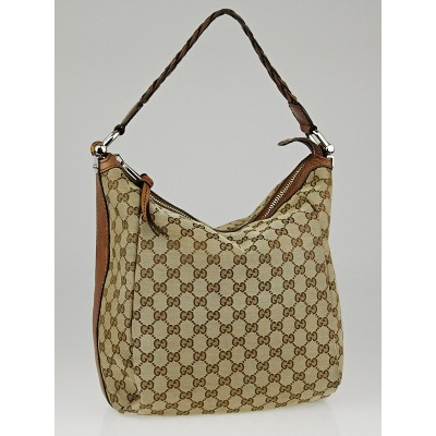Gucci Beige/Brown GG Canvas Bamboo Bar Hobo Bag