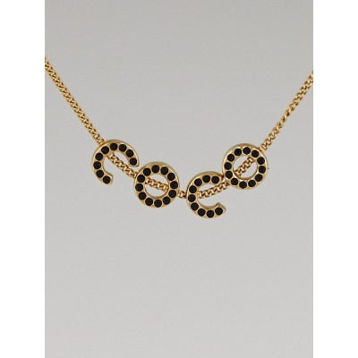 Chanel Goldtone and Black Crystal Coco Necklace