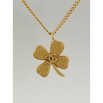 Chanel Goldtone Metal Clover CC Necklace