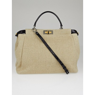 Fendi Natural Linen and Black Patent Leather Large Peekaboo Bag 8BN210