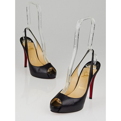 Christian Louboutin Black Leather No Prive 120 Heels Size 7.5/38