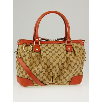 Gucci Beige/Orange GG Canvas Sukey Top Handle Bag