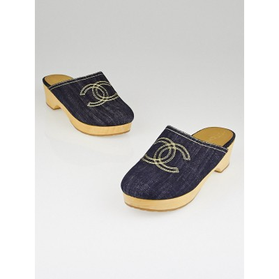 Chanel Blue Denim CC Logo Wooden Clogs Size 9.5/40