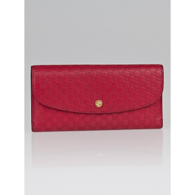 Gucci Pink Micro Guccissima Leather Interlocking G Continental Wallet