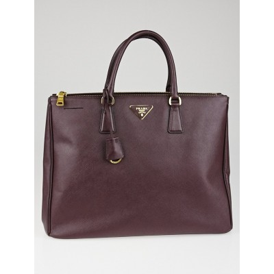 Prada Bordeaux Saffiano Lux Leather Double Zip Executive Tote Bag BN1802