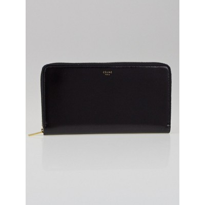 Celine Black Patent Calfskin Leather Large Zipped Multifunction Wallet